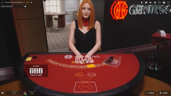 Live Three Card Poker Screenshot
